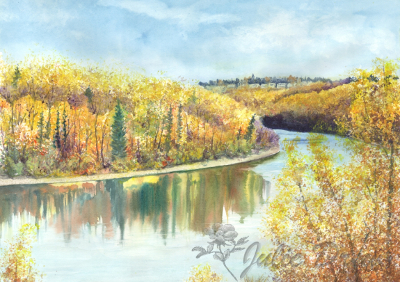 The North Saskatchewan River - A painting by Julie Drew
